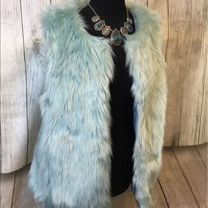 Ice Blue Faux Fur Vest